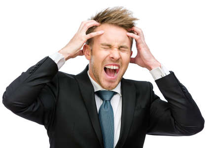 achy: Half-length portrait of businessman with closed eyes putting hands on head and shouting, isolated on white. Concept of headache and high temperature