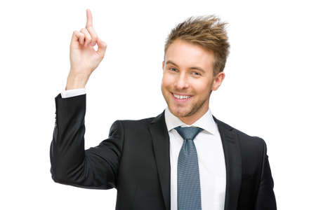 white body suit: Half-length portrait of white collar pointing hand gesture, isolated Stock Photo
