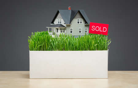 nobody real: Close up of house model with green grass and sold tablet on grey background. Concept of real estate and sales