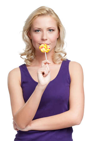 Woman with sugar candy, isolated on white Stock Photo - 28411767