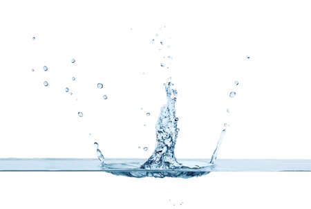 water level: Close up of clean water splash and air bubbles, isolated. Concept of environment and water element Stock Photo