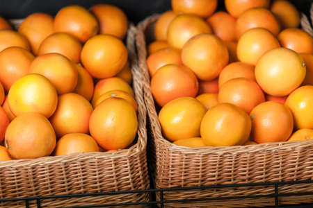 Close up of heap of oranges. Concept of healthy food photo