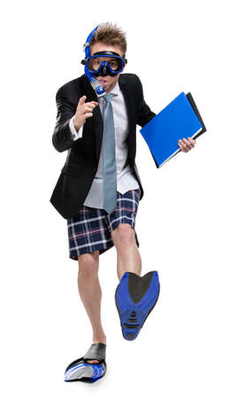 Full-length portrait of business man wearing fins, snorkel and goggles keeps folder with documents, isolated photo
