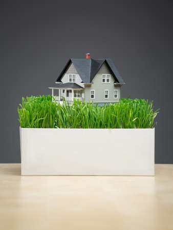architecting: Close up of house model with green grass on grey background. Concept of real estate and building