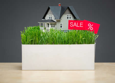 architecting: Close up of house model with green grass and sale tablet on grey background. Concept of property and sales Stock Photo