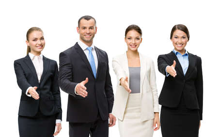 Portrait of young attractive business people team handshake gesturing, isolated on white