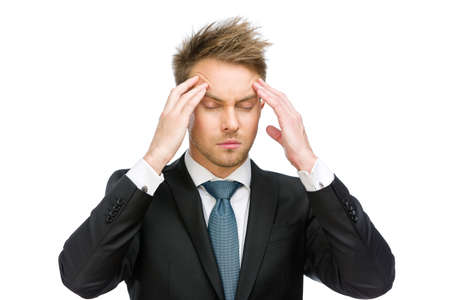 achy: Half-length portrait of manager with closed eyes putting hands on head, isolated on white. Concept of headache and high temperature