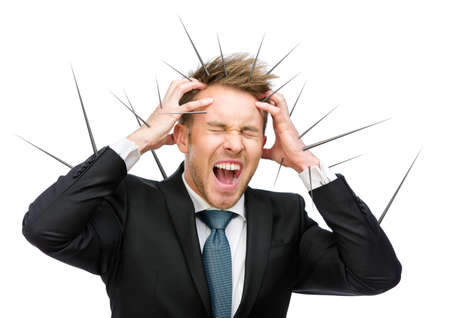 achy: Half-length portrait of businessman putting hands on thorned head and shouting, isolated on white. Concept of acute headache and high temperature