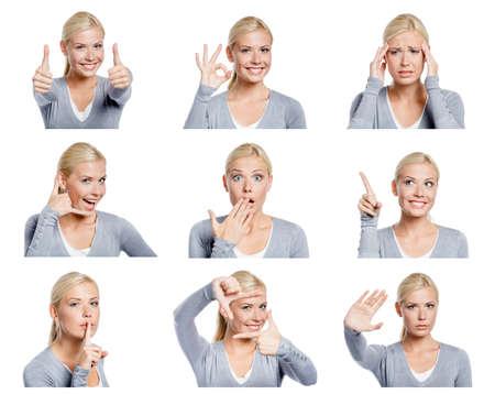 Set von neun Bilder von hübschen jungen Frau mit verschiedenen Gesten und Emotionen, isoliert auf weiß