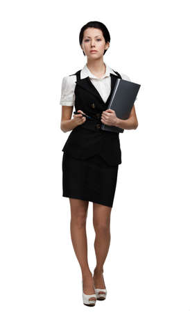 short skirt: Full length portrait of business woman with folder, isolated on white
