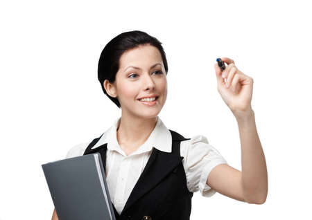 Business woman writing on the invisible screen with marker, isolated on white. Great job photo