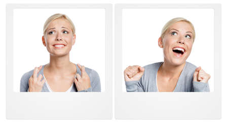 smile please: Set of two pictures with young woman expressing different emotions. At the first pic woman with fingers crossed who is wishing or praying about something,isolated on white. At the second - woman who gets what she wanted.  Concept of achieving what you wan Stock Photo