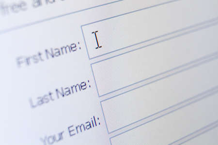 Close up of sign up form. Concept of surfing the internet and pastime Stok Fotoğraf