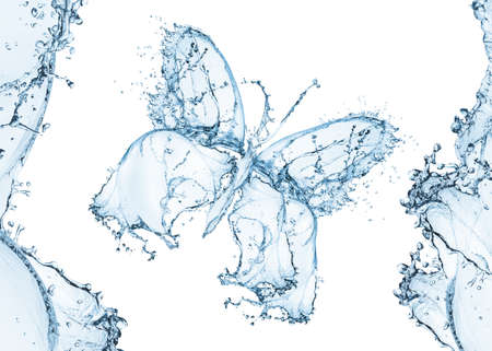 Water splash in the form of a butterfly, isolated on white photo