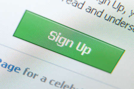 sign up icon: Close up shot of sign up icon