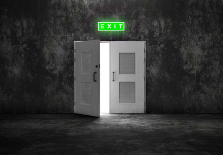wayout: Open white door exit on grey background like cement or concrete wall