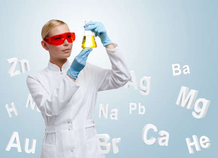 Woman doctor making chemical combination in Erlenmeyer flask, chemical elements background photo