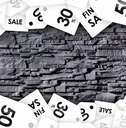 sellout: Clearance sell-out on abstract background. Concept of savings Stock Photo