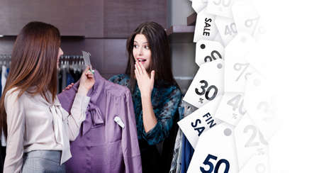 Friends wonder like special clearance sale prices at the shopping center photo