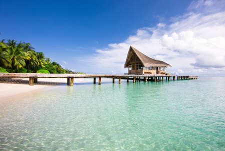 formats: Nice scenery over beach with the water villas, Maldives