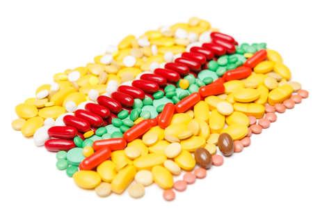 health symbols metaphors: Vitamins heap, isolated. Healthcare concept.