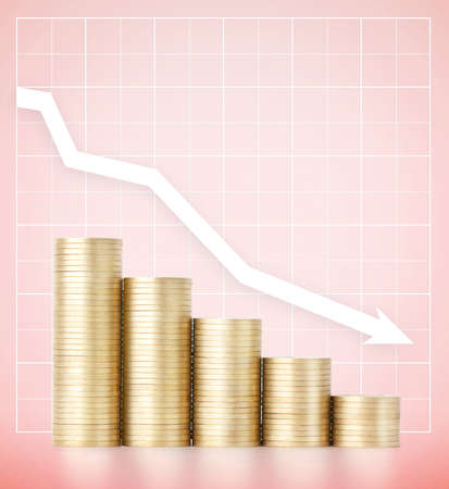 cutback: Falling incomes. Savings and careful spending money concept, pink background