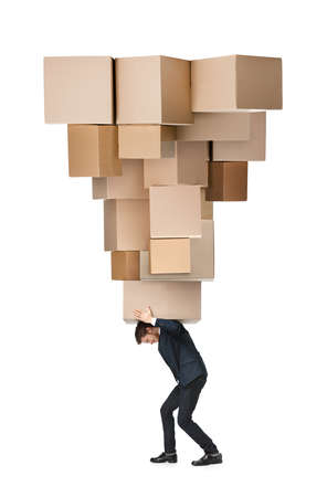 weary: Shop assistant carries thehuge parcel, isolated, white background