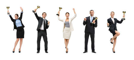 Full-length portrait of businessmen keeping golden cup and fist up gesturing, isolated on white. Concept of victory and success photo