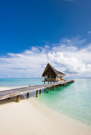 Beautiful scenery over beach with the water villas, Maldives