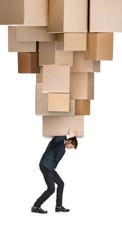 delivers: Courier delivers big order, isolated, white background Stock Photo