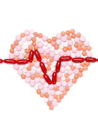 health symbols metaphors: Heart is made of pills. Healthcare concept. Stock Photo