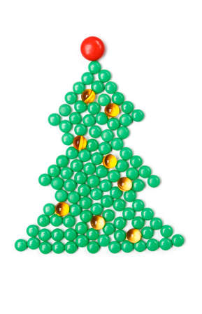 prescribe: Fir tree of vitamins, isolated. Healthcare concept.