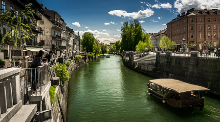 River Ljubljanica in Ljubljana city, Slovenia