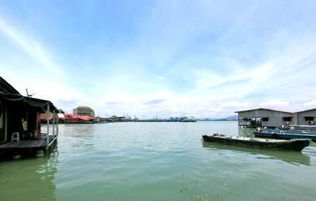 chew: Landscape scenery view of Chew Jetty, Penang under the clear blue sky