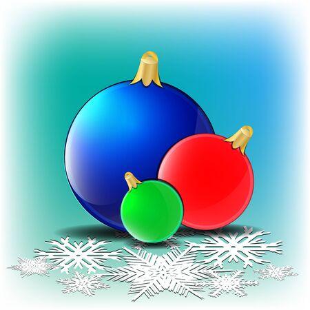 blue snowflakes: christmas card