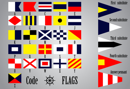 nautical flags: Complete set of Nautical flags for letters