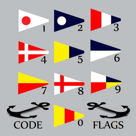숫자에 대한 해상 깃발의 완전한 세트