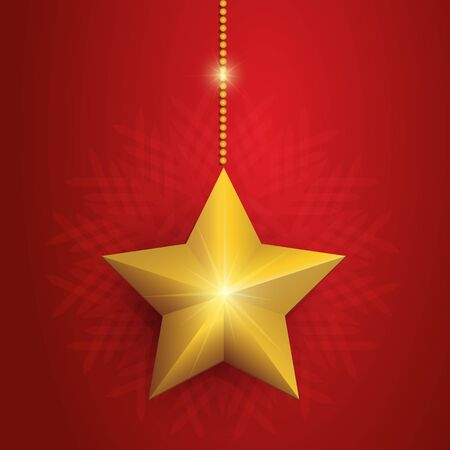 Red Christmas card with golden star