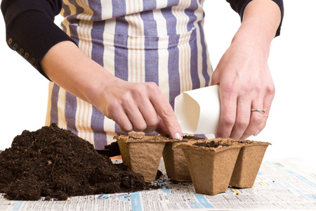 pot hole: Hands of a woman with a bag of seeds, soil and growing pots, isolated on white Stock Photo