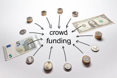 sums: Crowdfunding with european and american money Euro Dollar Pound Francs and Crowns in coins and banknotes Stock Photo