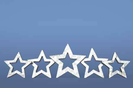 five stars: Five silver stars on blue background copyspace Stock Photo