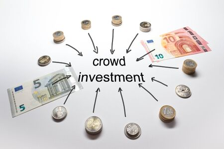 money pound: Crowd Investing investment with Euro Francs Pound and Crowns in coins and banknotes