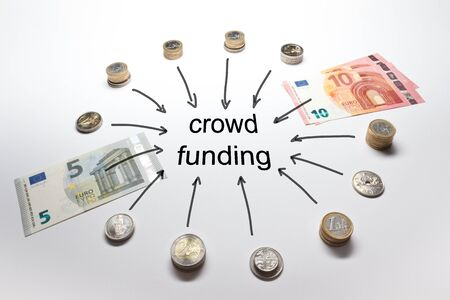 Crowdfunding with Euro Francs Pound and Crowns in coins and banknotes