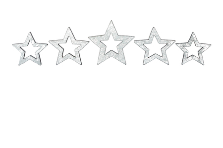 five stars: Five silver stars isolated on white copyspace