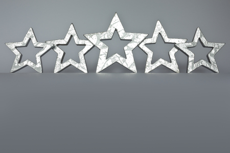 five stars: Five silver stars on gray background low angle view copyspace