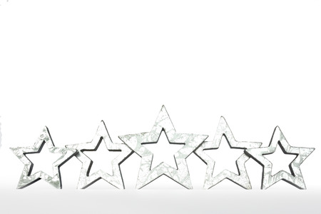silver stars: 5 silver stars isolated on white five star rating copyspace