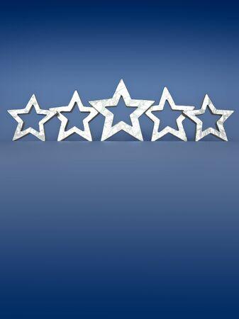 Vijf zilveren sterren op een blauwe achtergrond copyspace Stockfoto