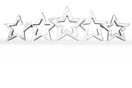restaurant rating: 5 silver stars isolated on white five star rating copyspace