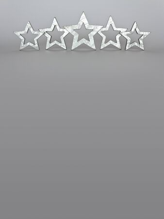 five stars: Five silver stars on gray background copyspace