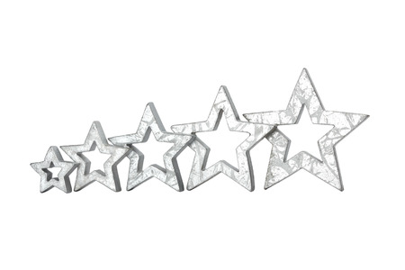 restaurant rating: Five silver stars in ascending size isolated on white copyspace